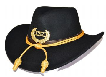 Confederate Black Slouch Hat Gold Cord & Metal CSA Badge